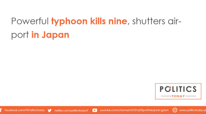 Powerful typhoon kills nine, shutters airport in Japan