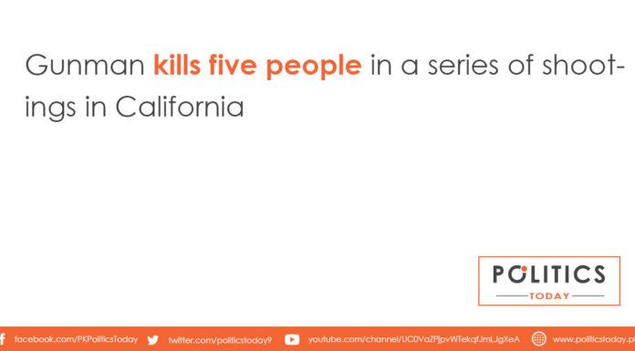 Gunman kills five people in a series of shootings in California