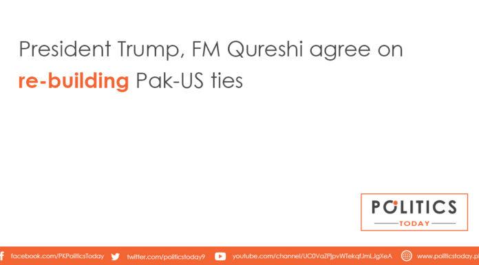 President Trump, FM Qureshi agree on re-building Pak-US ties