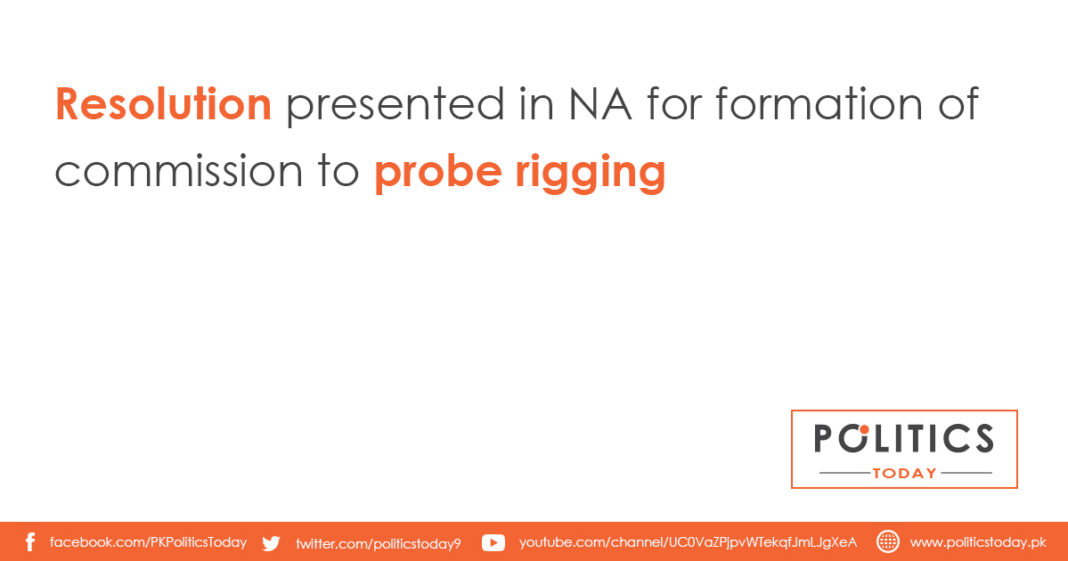 Resolution presented in NA for formation of commission to probe rigging