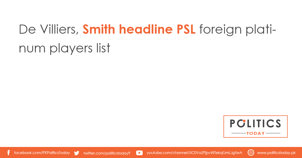 De Villiers, Smith headline PSL foreign platinum players list