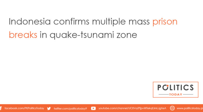 Indonesia confirms multiple mass prison breaks in quake-tsunami zone